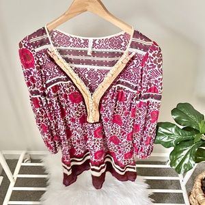 Free People tunic with pearl button detail